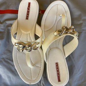 Prada Ivory Patent Leather Flip-Flops Sandals 37